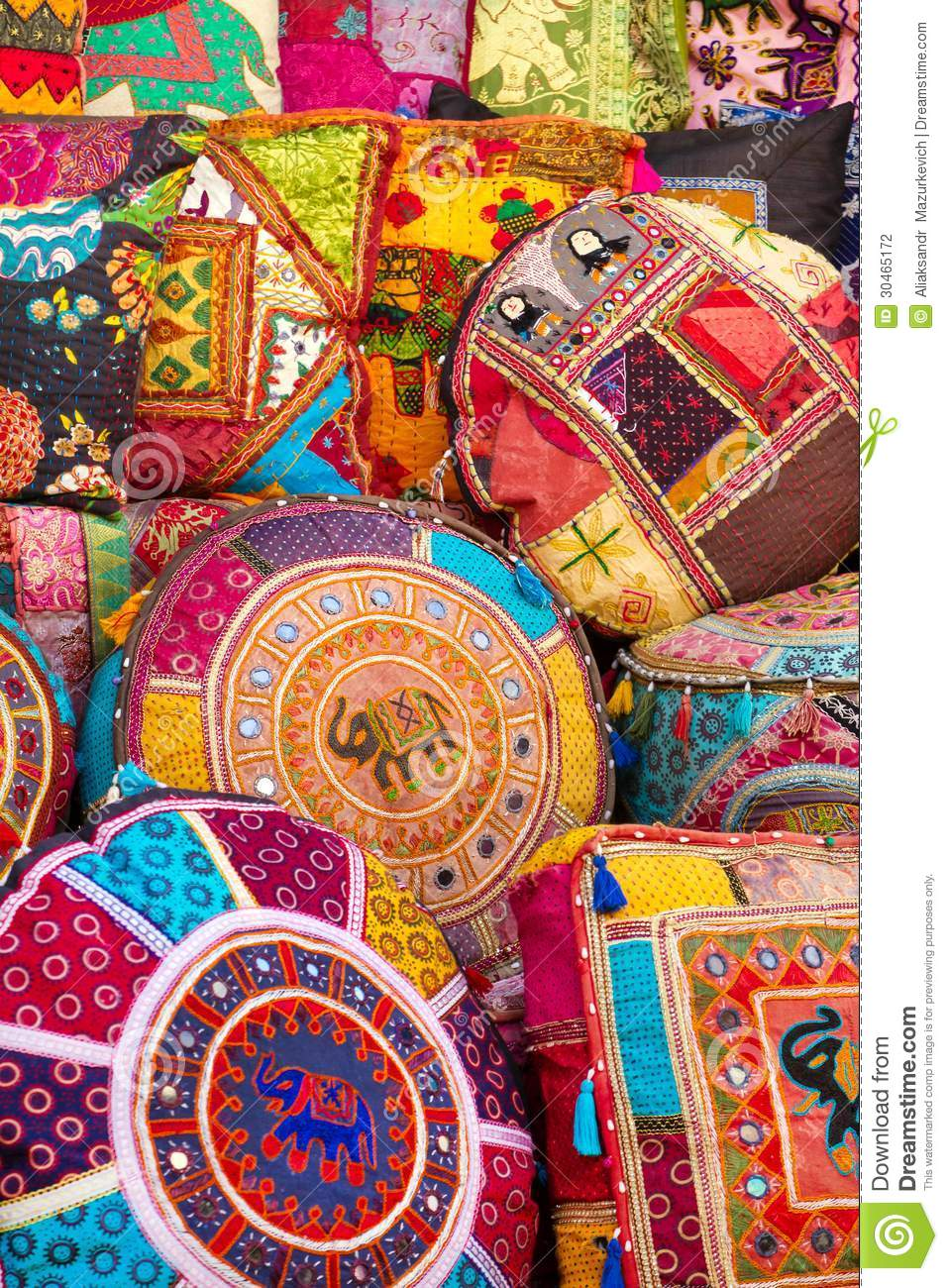 Colorful Indian pillows stock photo. Image of ethnic ...