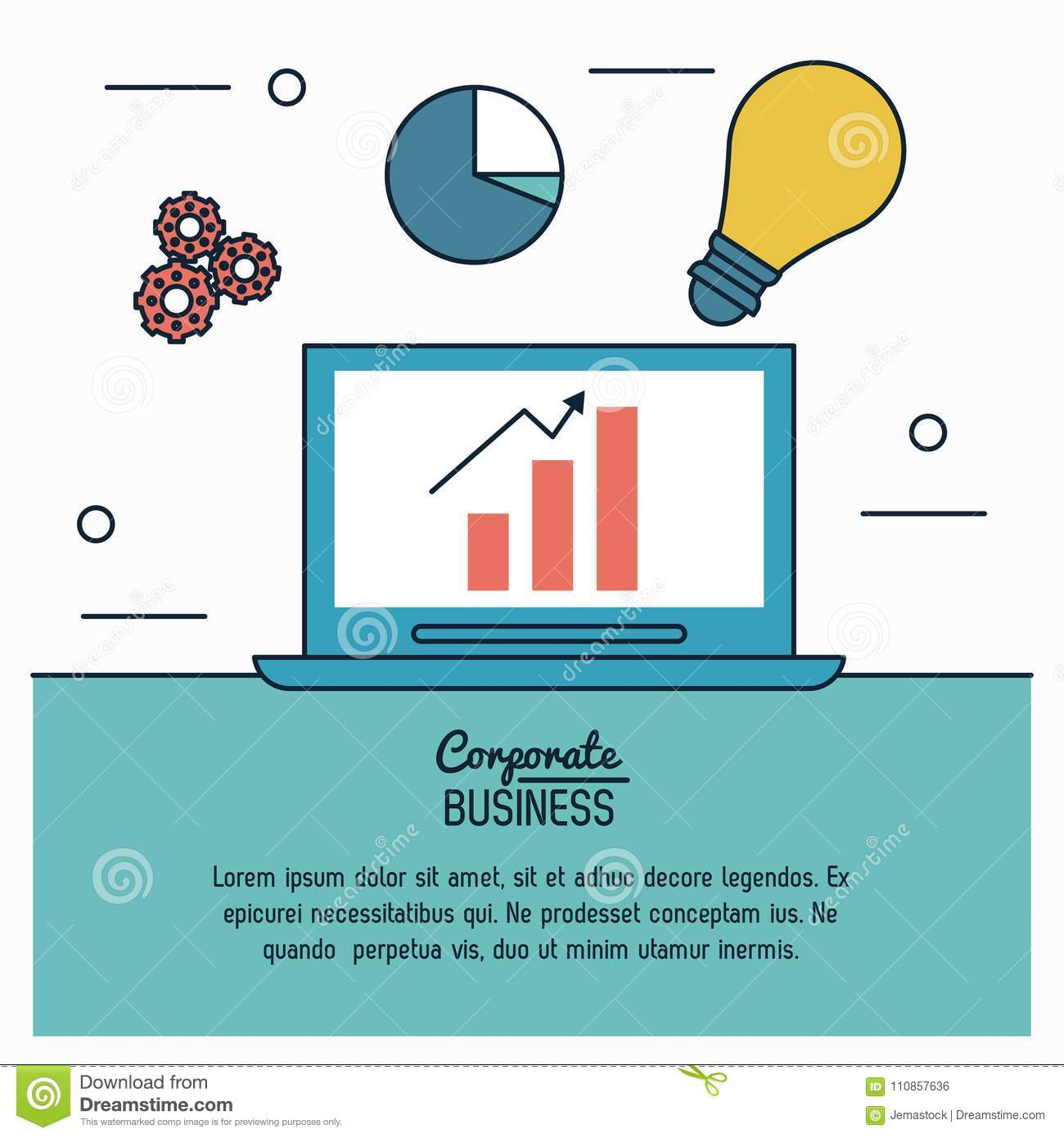 Colorful infographic of corporate business with process idea of economic growing in laptop computer
