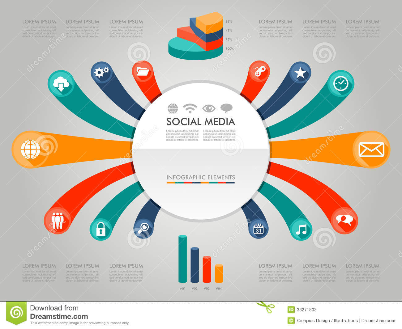 Colorful Infographic diagram social media icons il