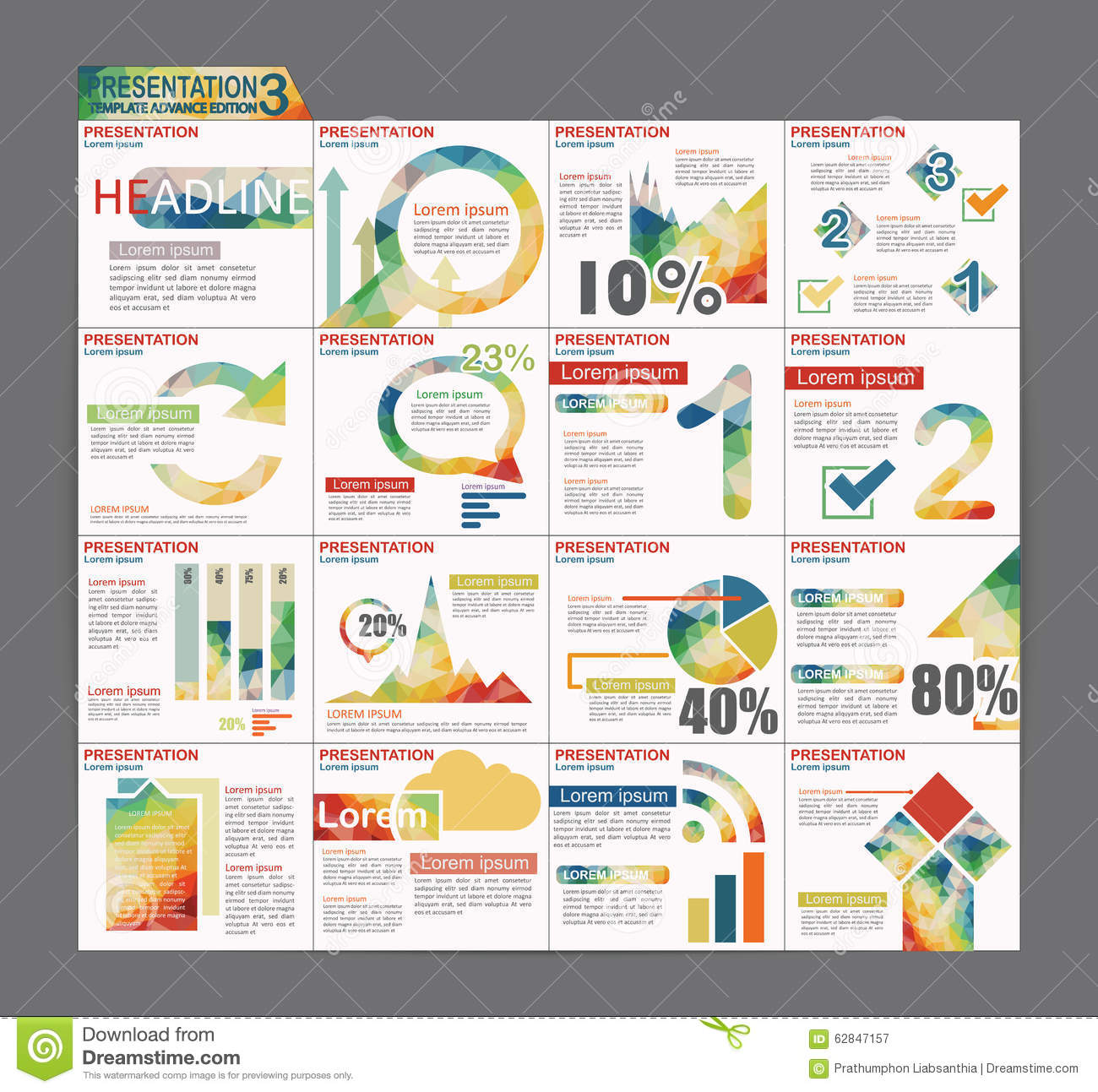 colorful infographic presentation template brochure flyer design