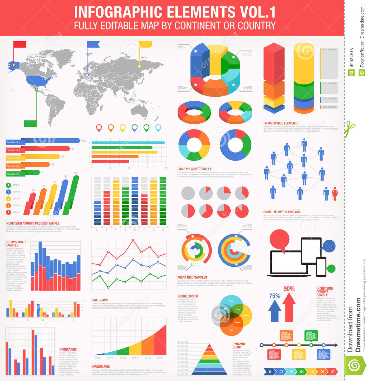Colorful infographics set 1 stock vector illustration of copy colorful infographics set 1 royalty free vector gumiabroncs Gallery