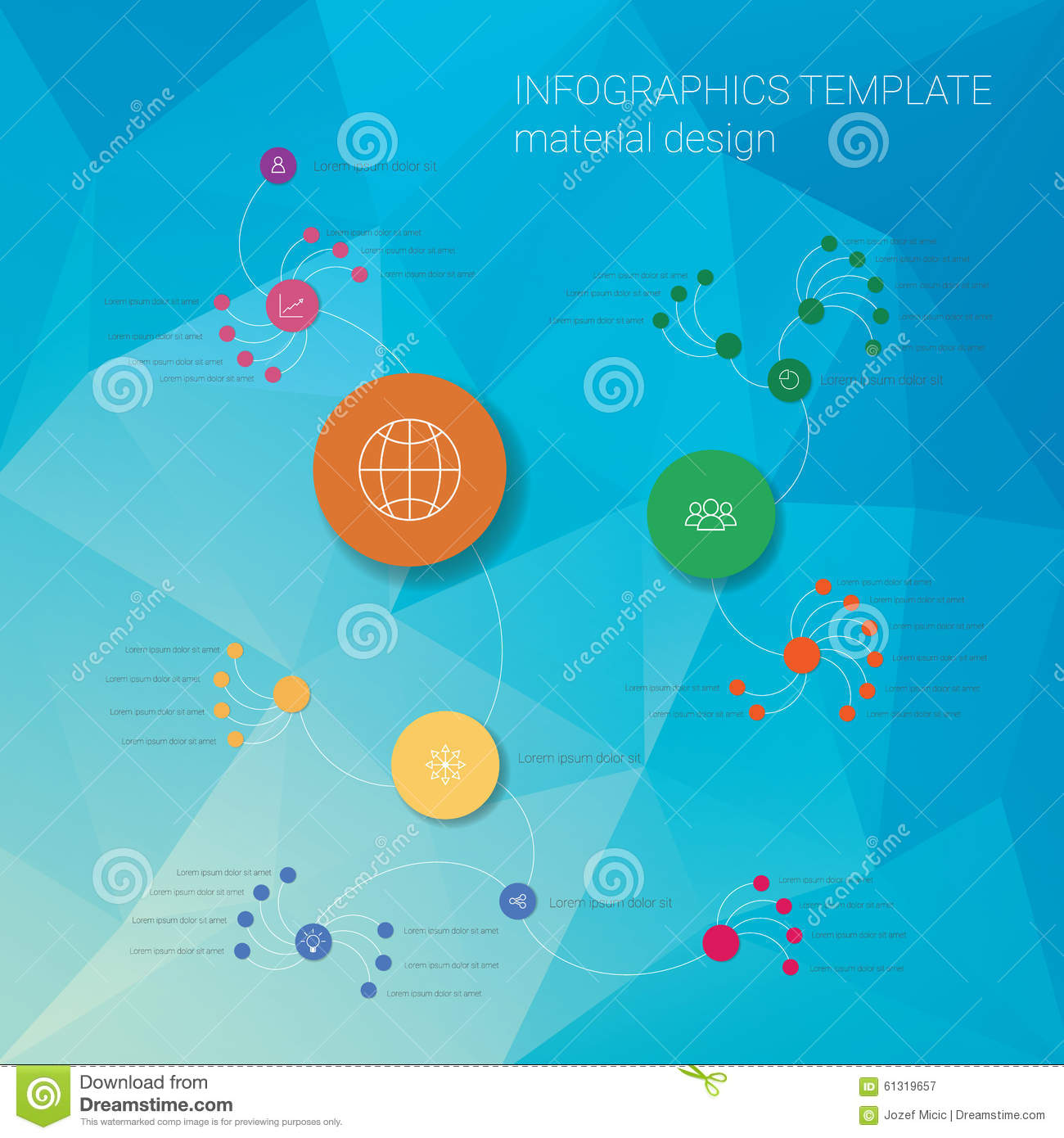 colorful infographics template with circles on low stock vector, Low Poly Business Presentation Template, Presentation templates