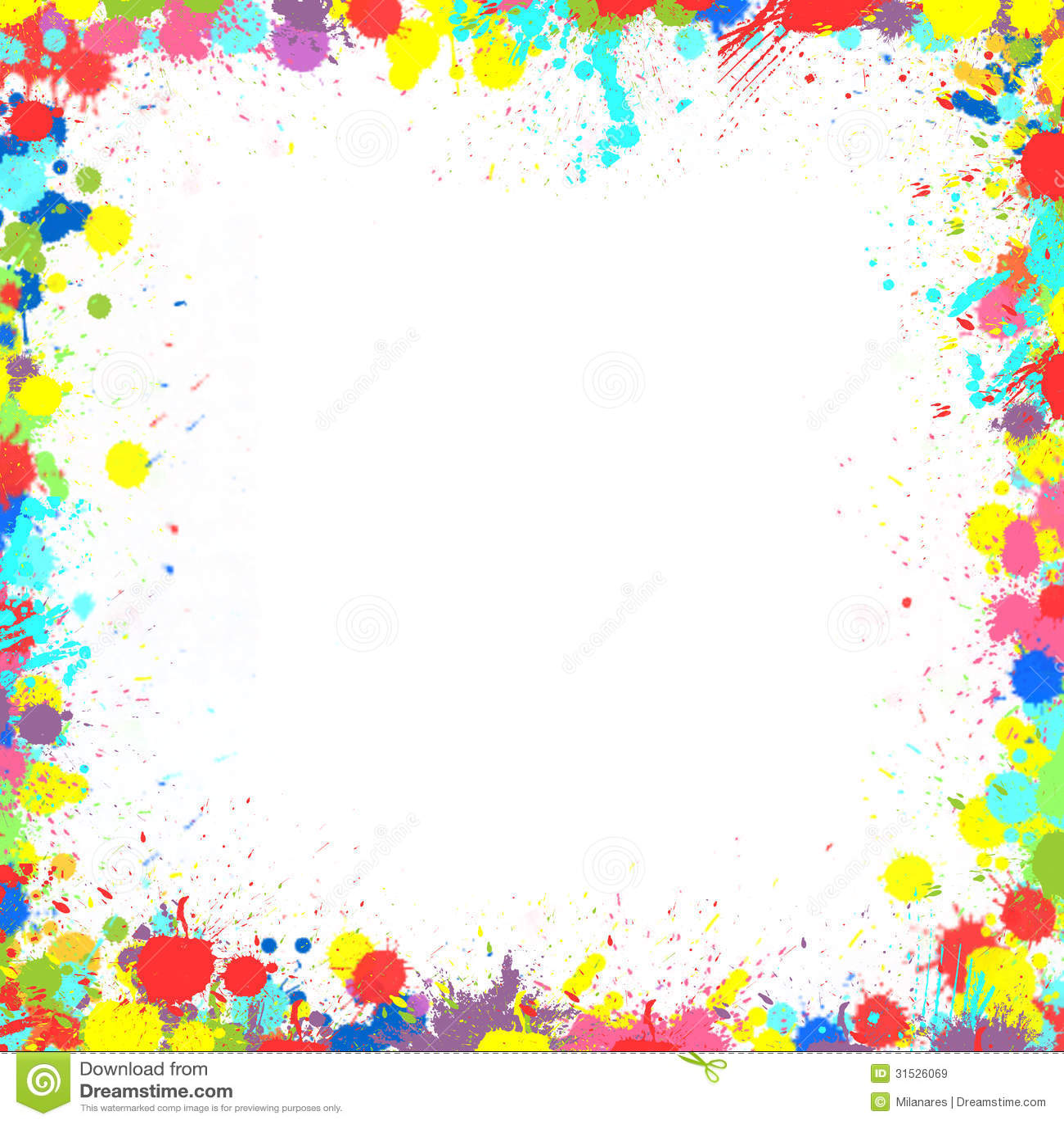 Colorful Inky Splash Frame Border Stock Illustration
