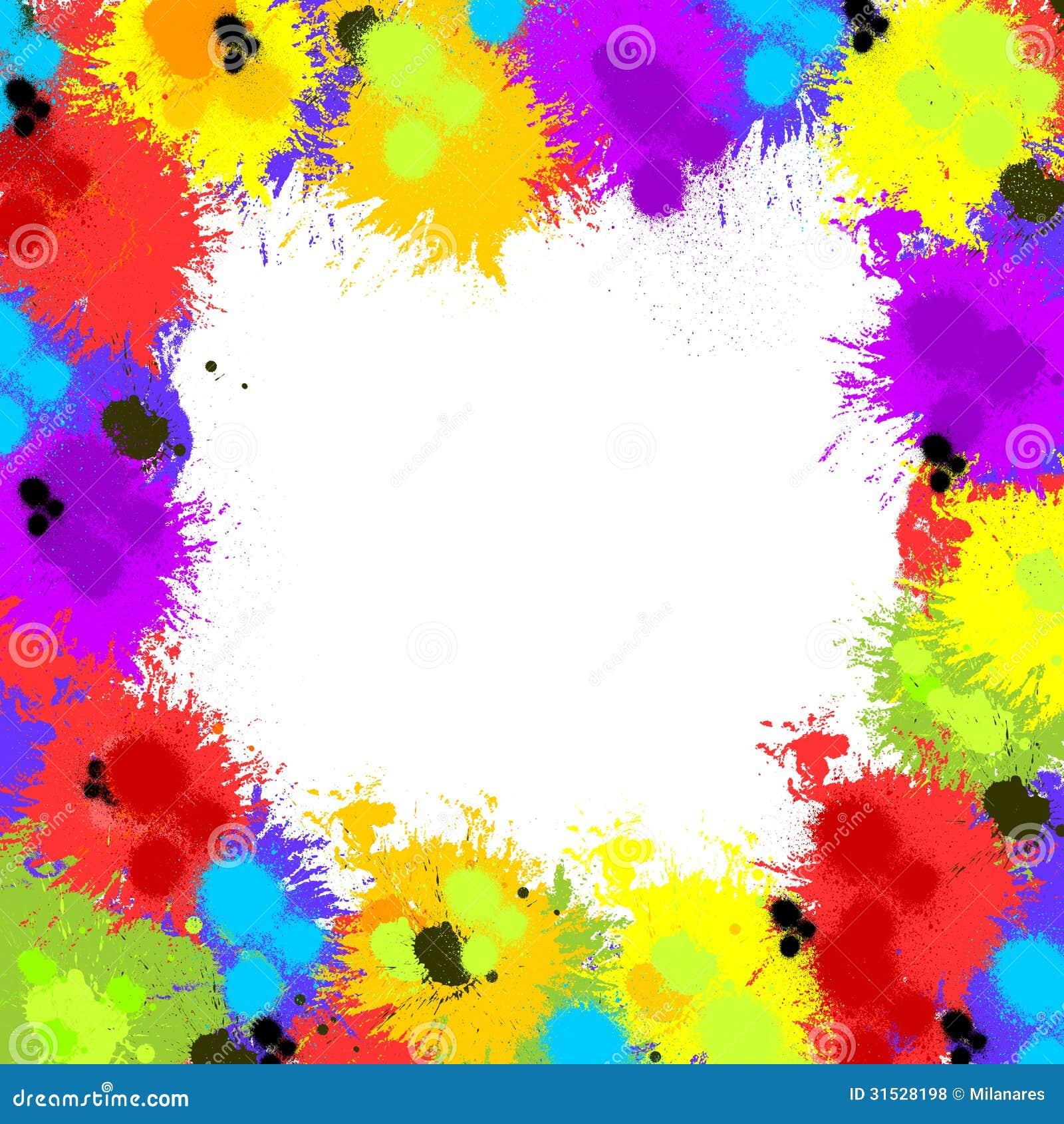 Colorful Inky Splash Frame Border Royalty Free Stock