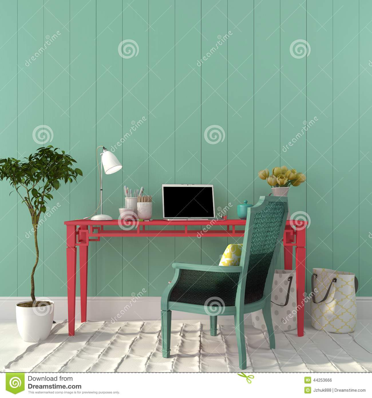 Colorful Home Office colorful interior of home office stock photo - image: 44253666
