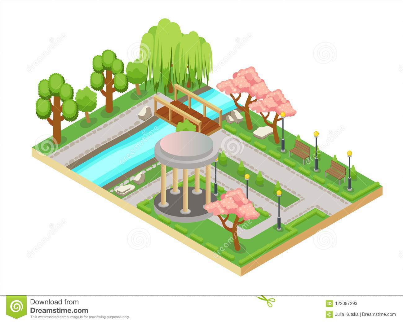 Colorful Isometric Three Dimensional Illustration Of Oriental Garden