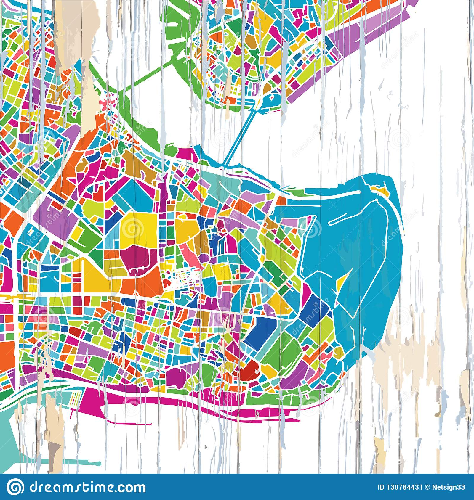 Colorful Istanbul map stock vector. Illustration of office - 130784431