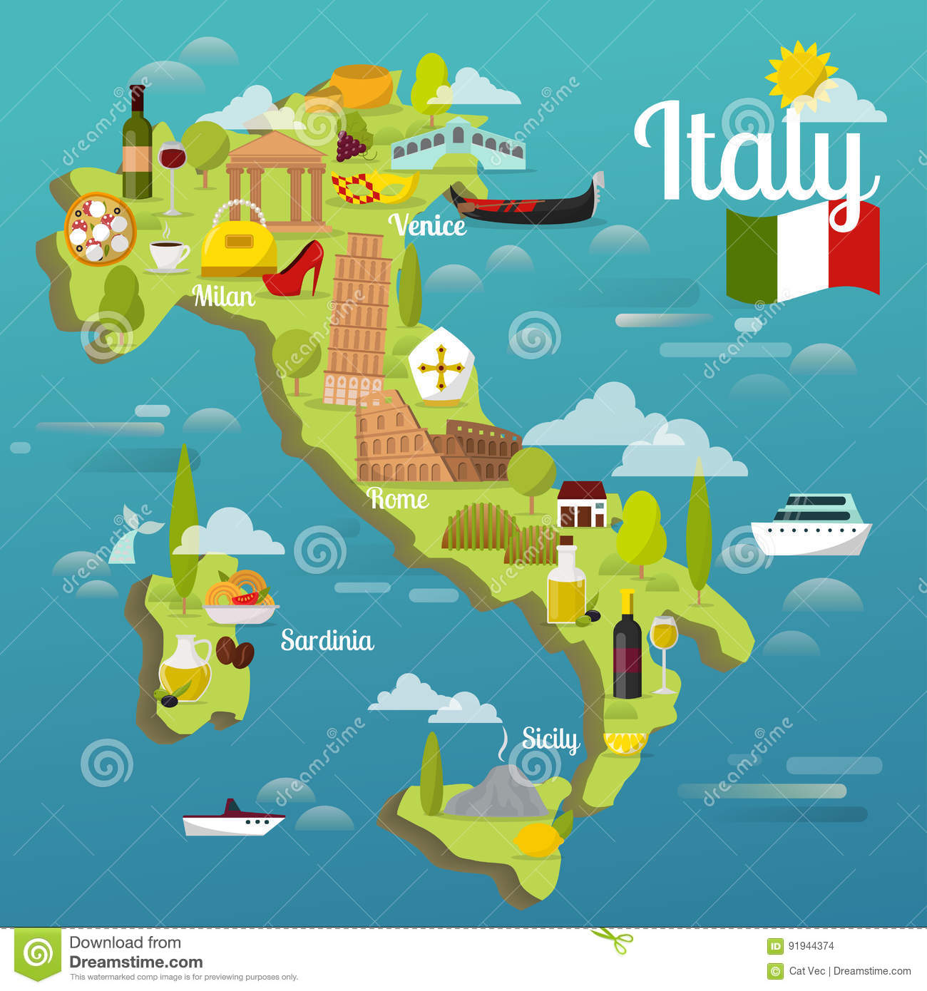 Colorful Italy Travel Map With Attraction Symbols Italian