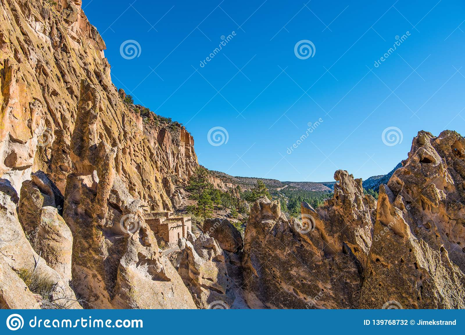 Bandelier New Mexico Cliff Dwellings Royalty Free Stock