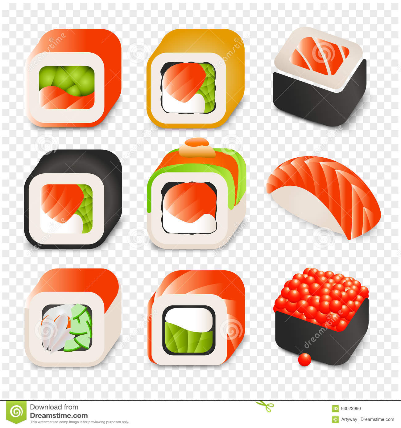 Colorful japanese food cartoon style design icons set with different sushi and rolls on transparent background isolated