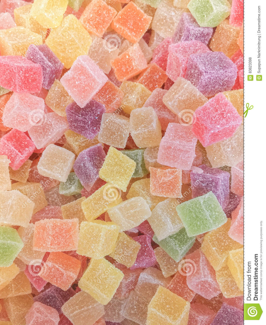 Pastel Purple Pink Green Blue Timber Wood Look: Colorful Jelly Candy Bonbon Snack Group. Sweet For