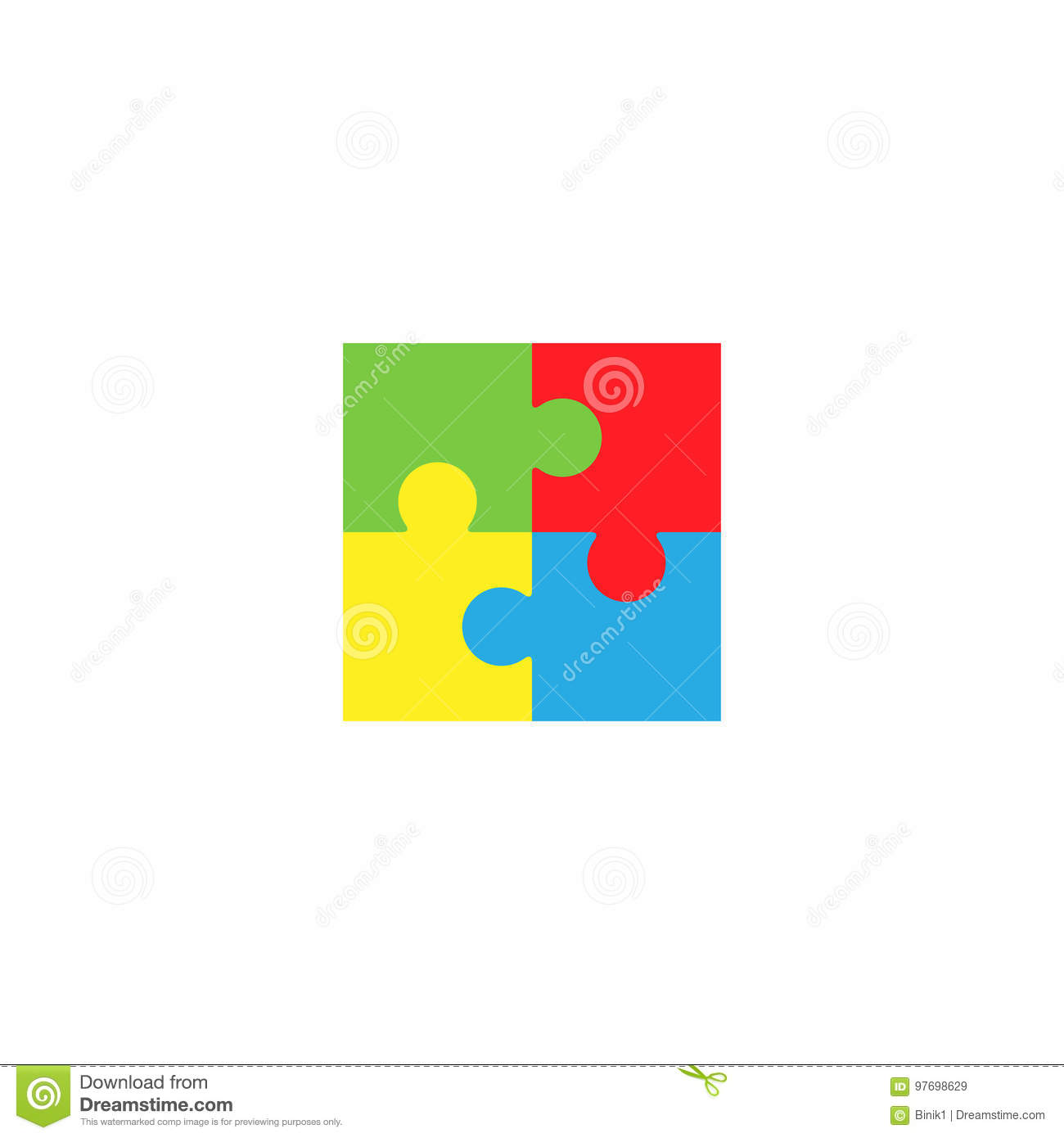 Colorful Jigsaw Puzzle Pieces Stock Vector - Illustration of graphic