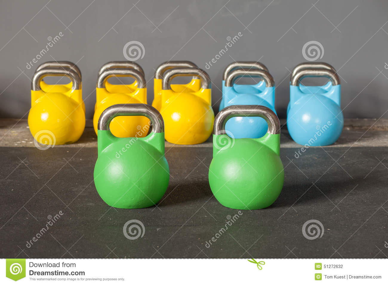 Colorful Kettlebells In A Row Stock Image | CartoonDealer ...