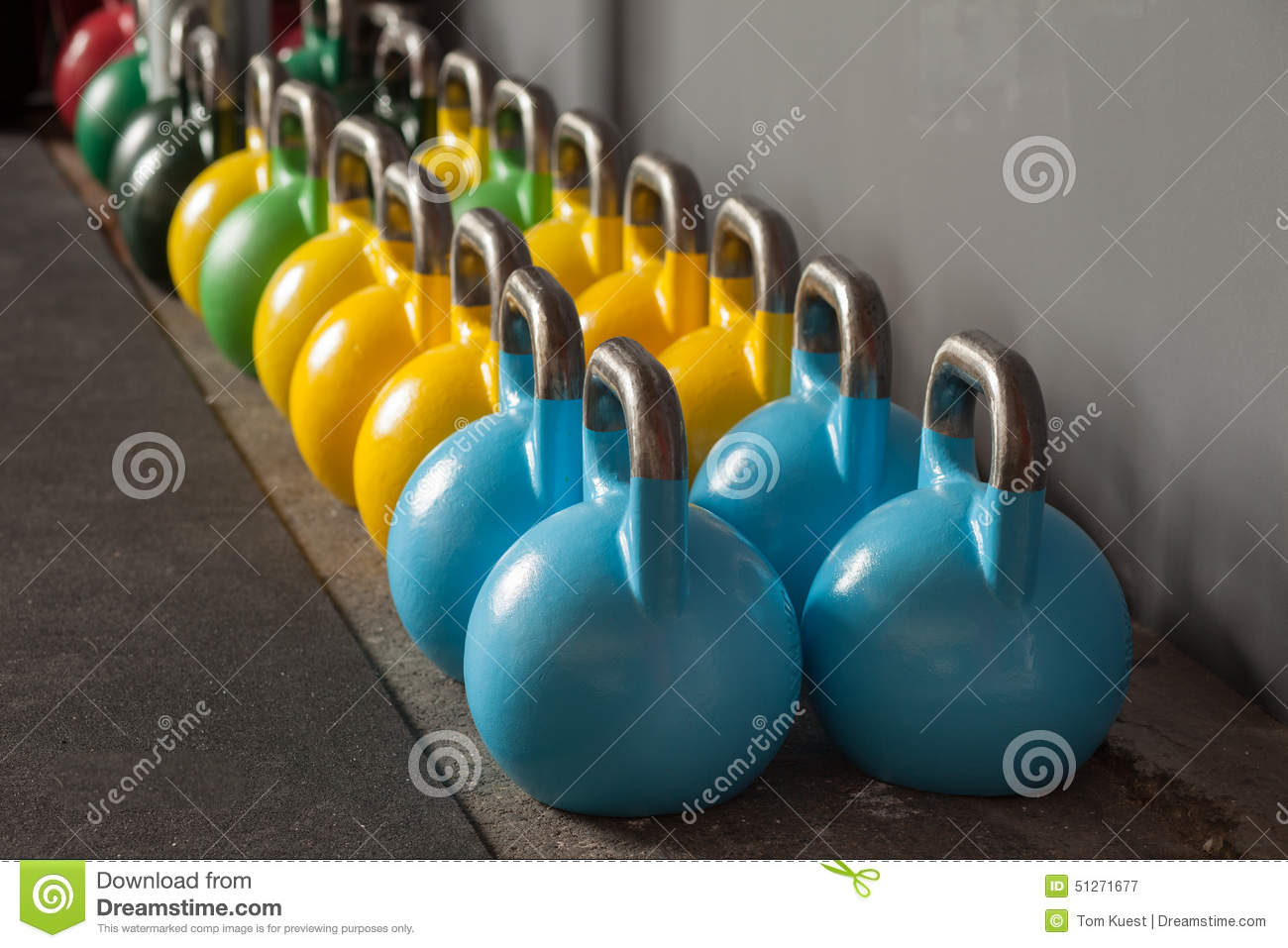 Colorful Kettlebells In A Row In A Gym Stock Image - Image ...