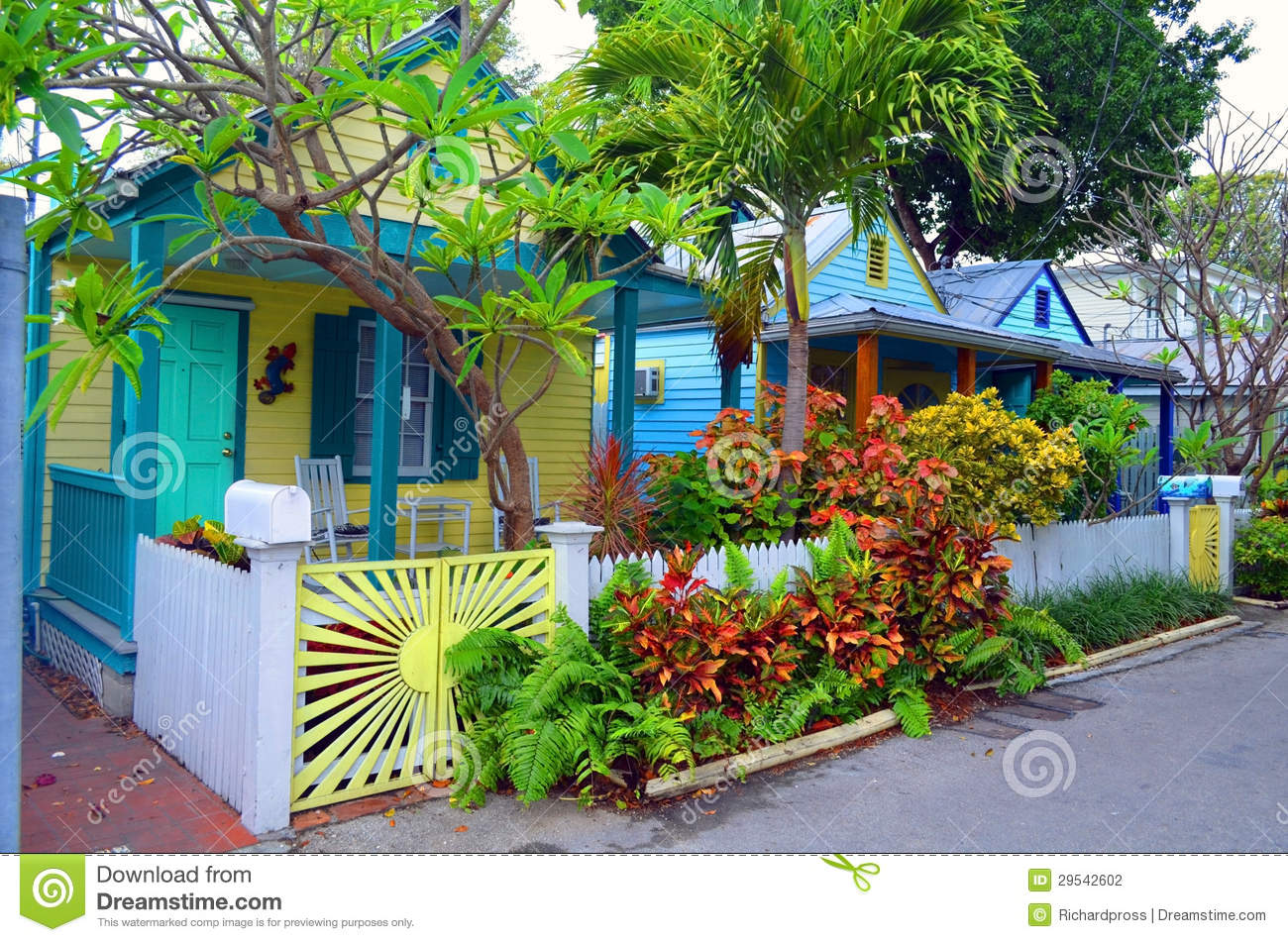 Colorful Key West Cottages Stock Photography Image 29542602