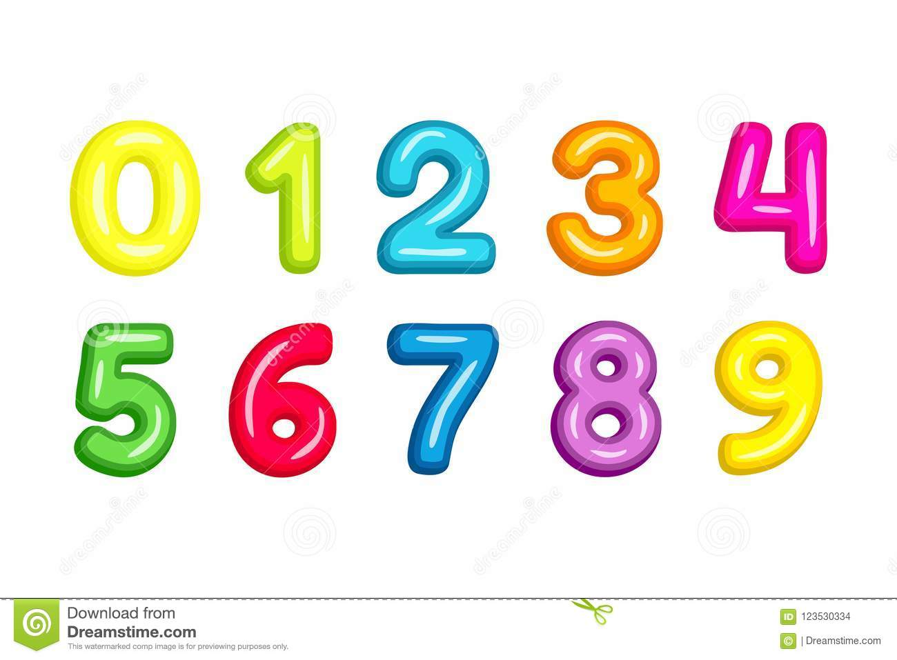 Colorful kid font numbers vector illustration isolated on white