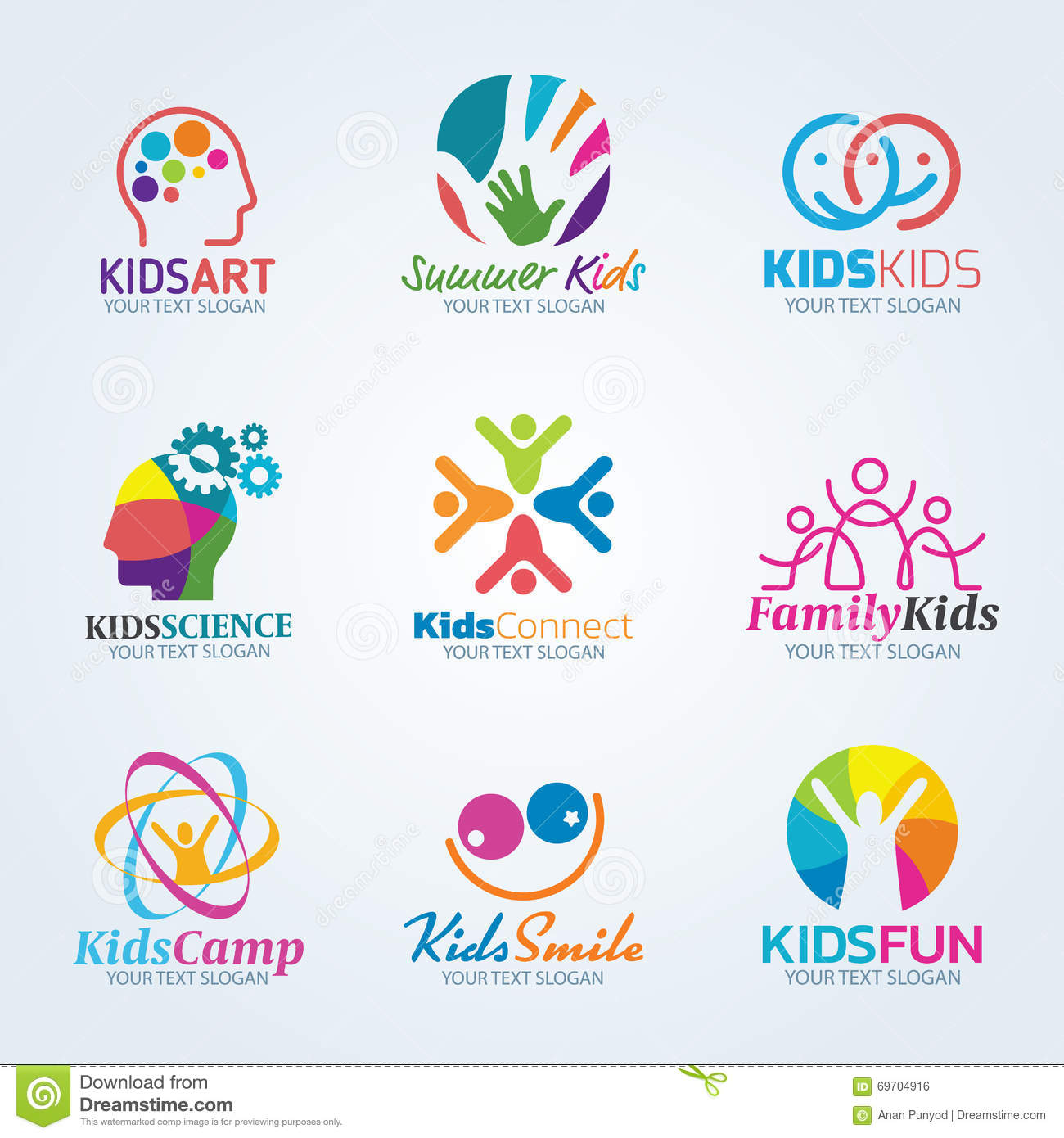 Colorful Kids Art Logo Vector Set Design Stock Vector - Image ...