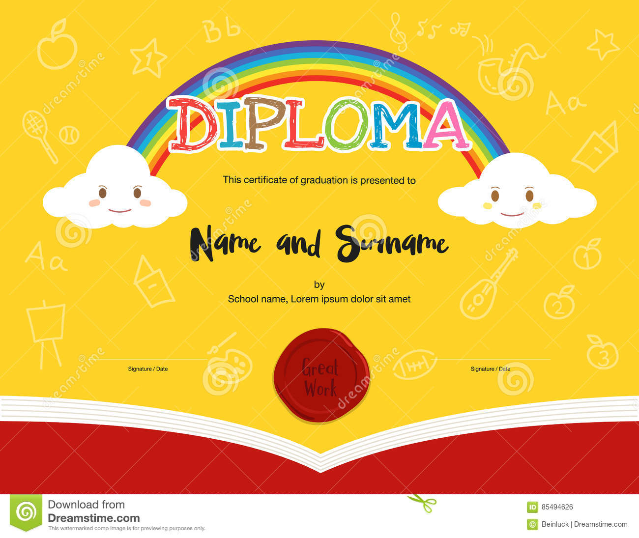 Colorful kids diploma certificate template in cartoon style stock colorful kids diploma certificate template in cartoon style yelopaper Choice Image