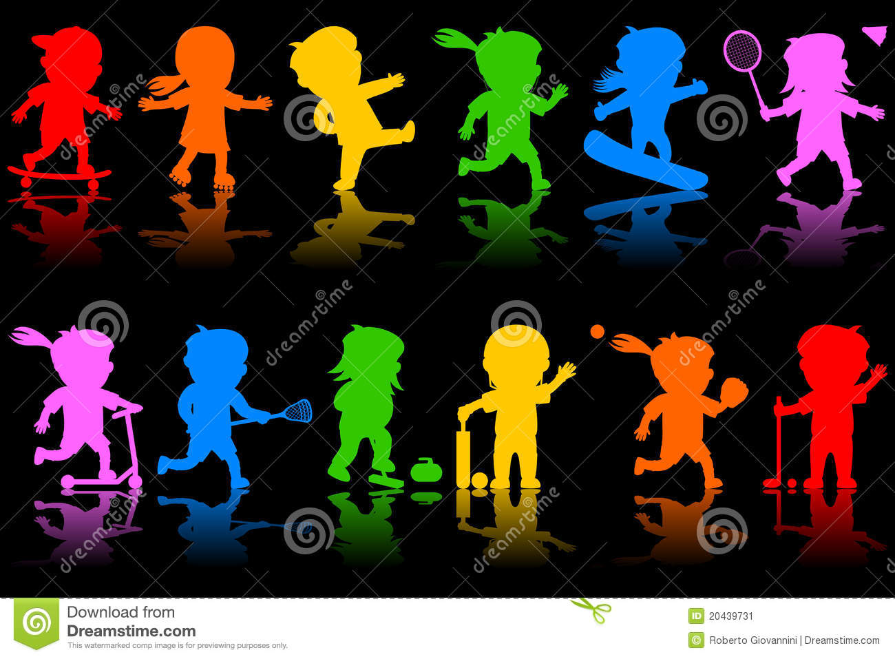 colorful kids silhouettes  2  stock vector