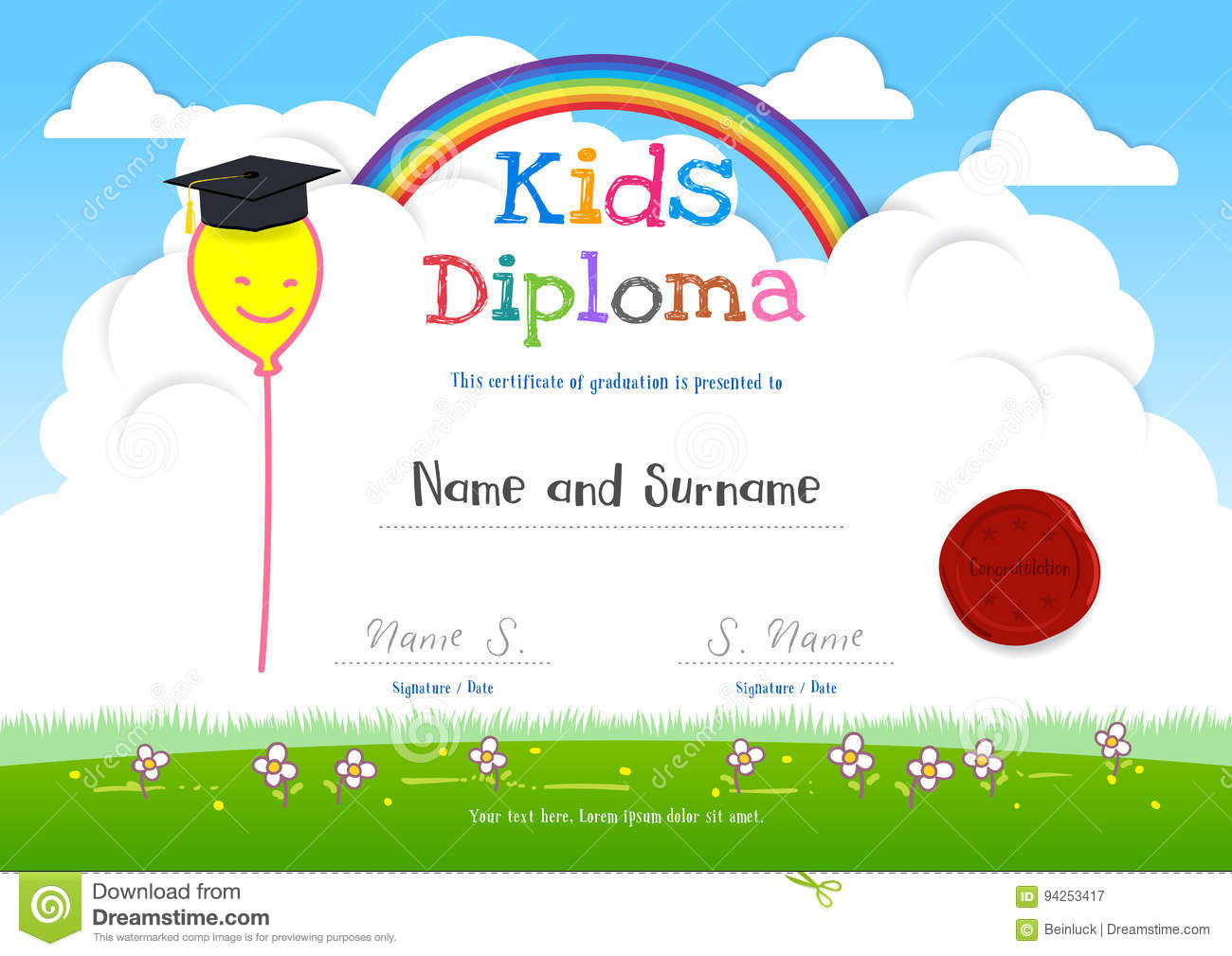 Colorful kids summer camp diploma certificate template in cartoo colorful kids summer camp diploma certificate template in cartoo yelopaper Choice Image