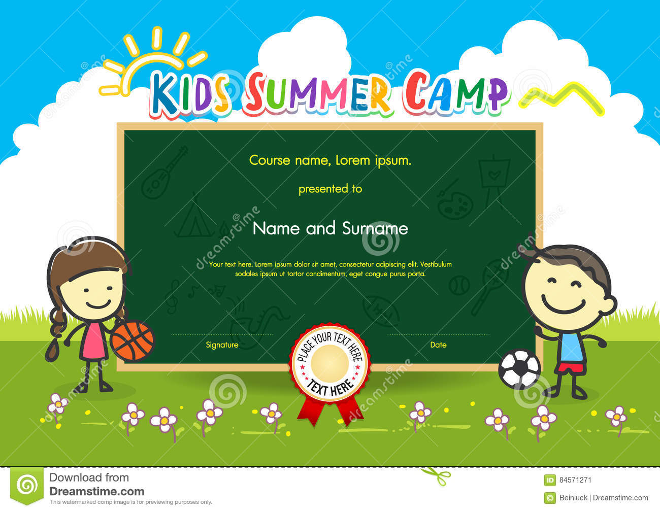 Colorful diploma certificate template for kids stock vector colorful kids summer camp diploma certificate template in cartoon stock image yadclub Choice Image