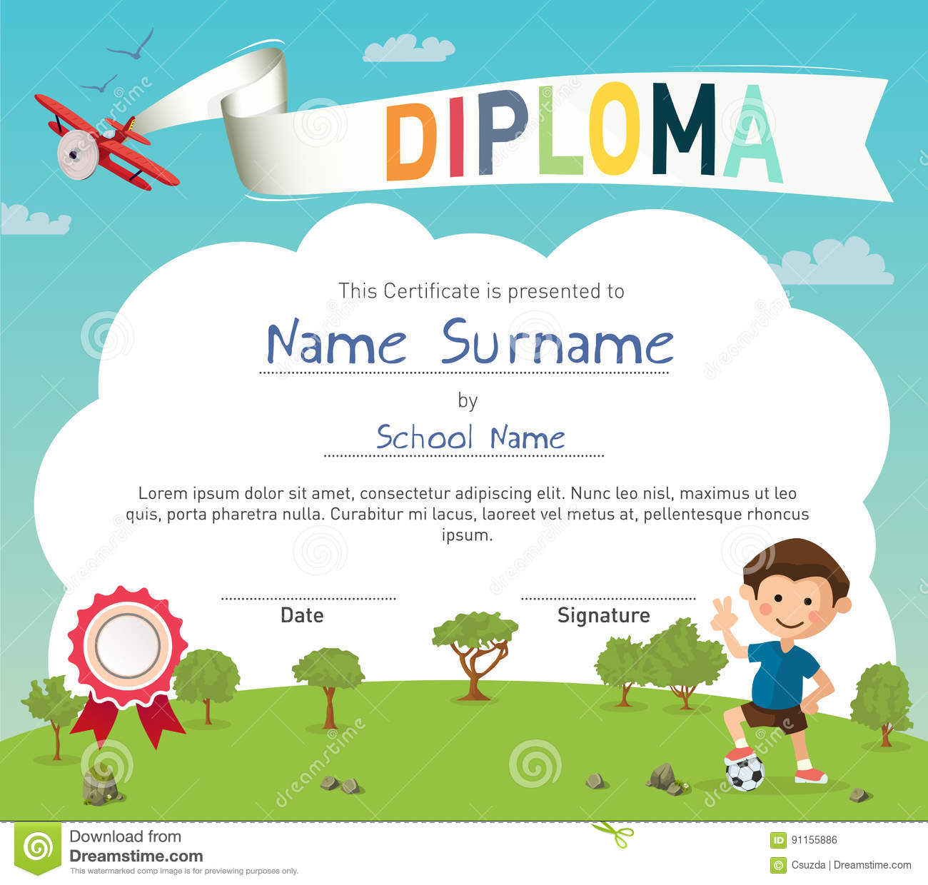 Colorful kids summer camp diploma certificate template