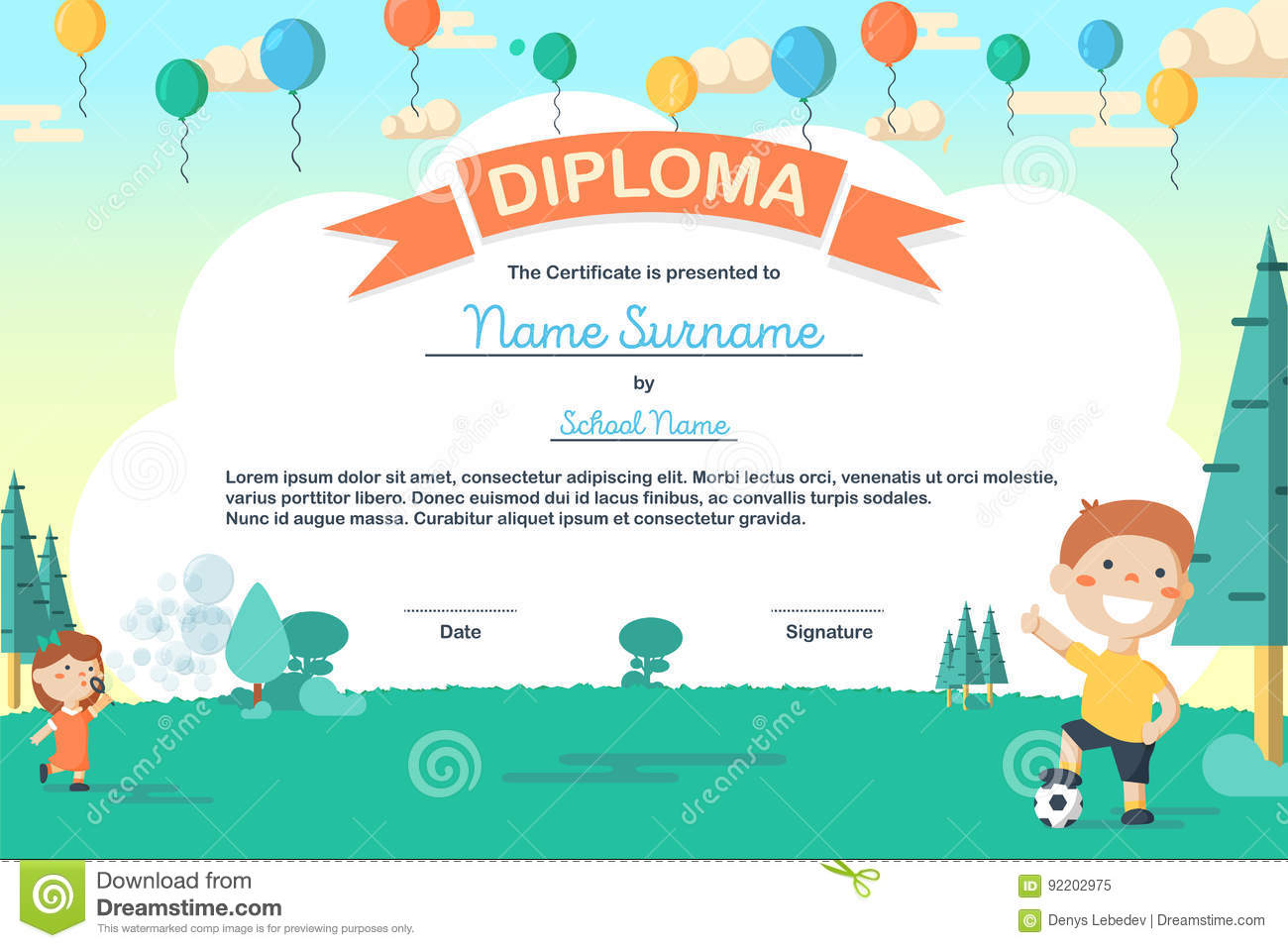 Colorful Kids Summer Camp Diploma Certificate Template In Cartoon Style  Royalty Free Stock Photo