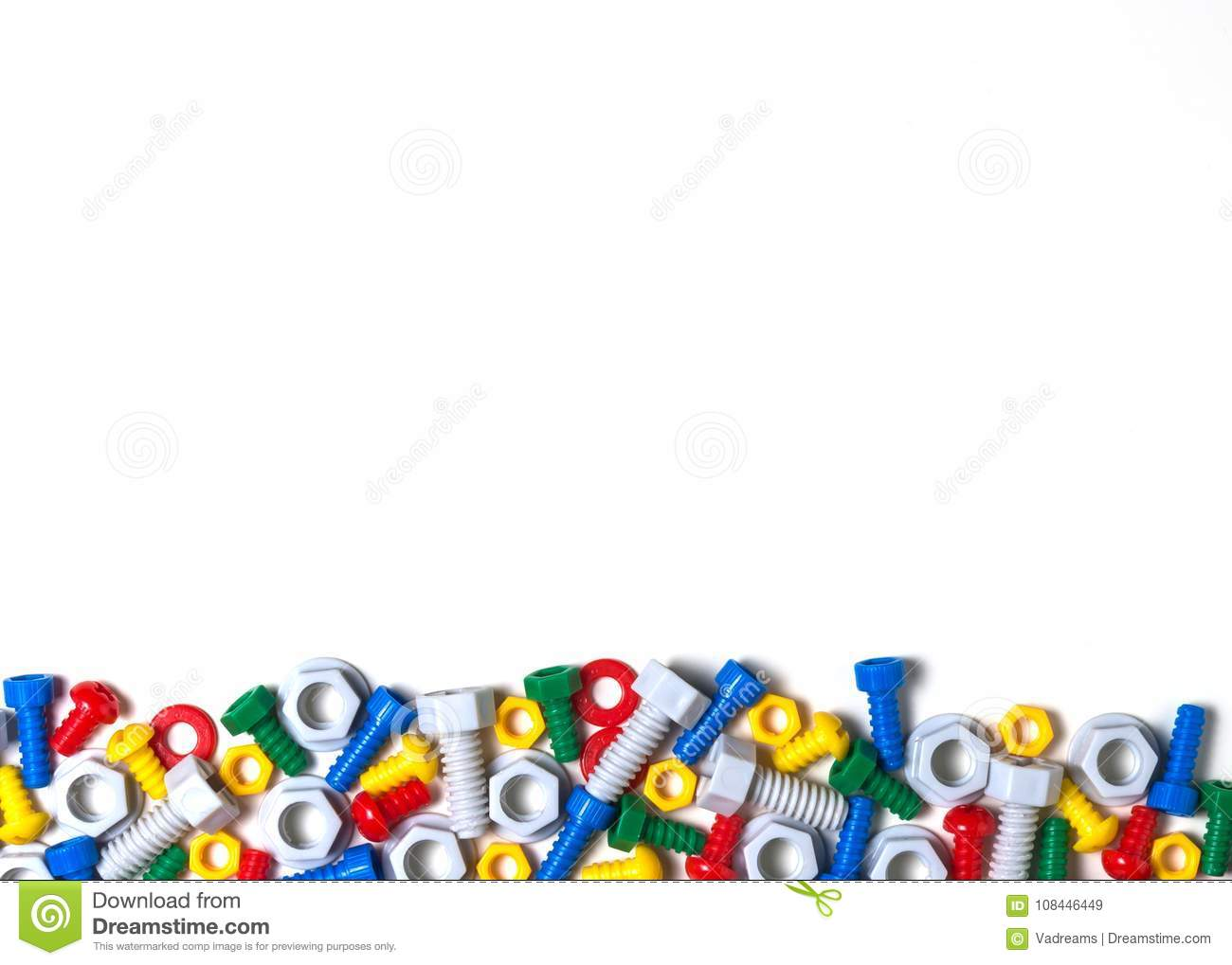Colorful Kids Toys Background With Plastic Toy Bolts And Nuts Stock