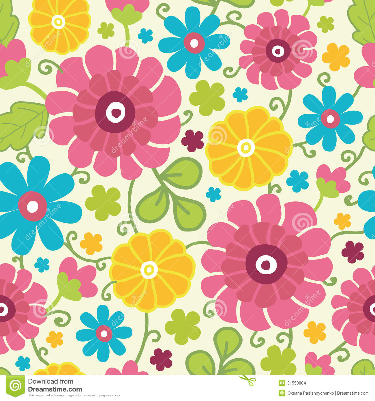 Colorful Kimono Flowers Seamless Pattern Stock Vector