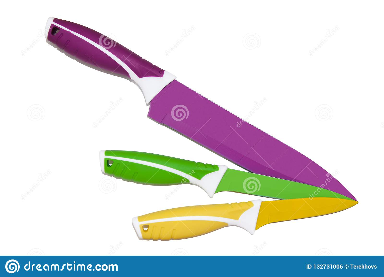 Colorful Kitchen Knives With Different Purposes On Top Of A ...