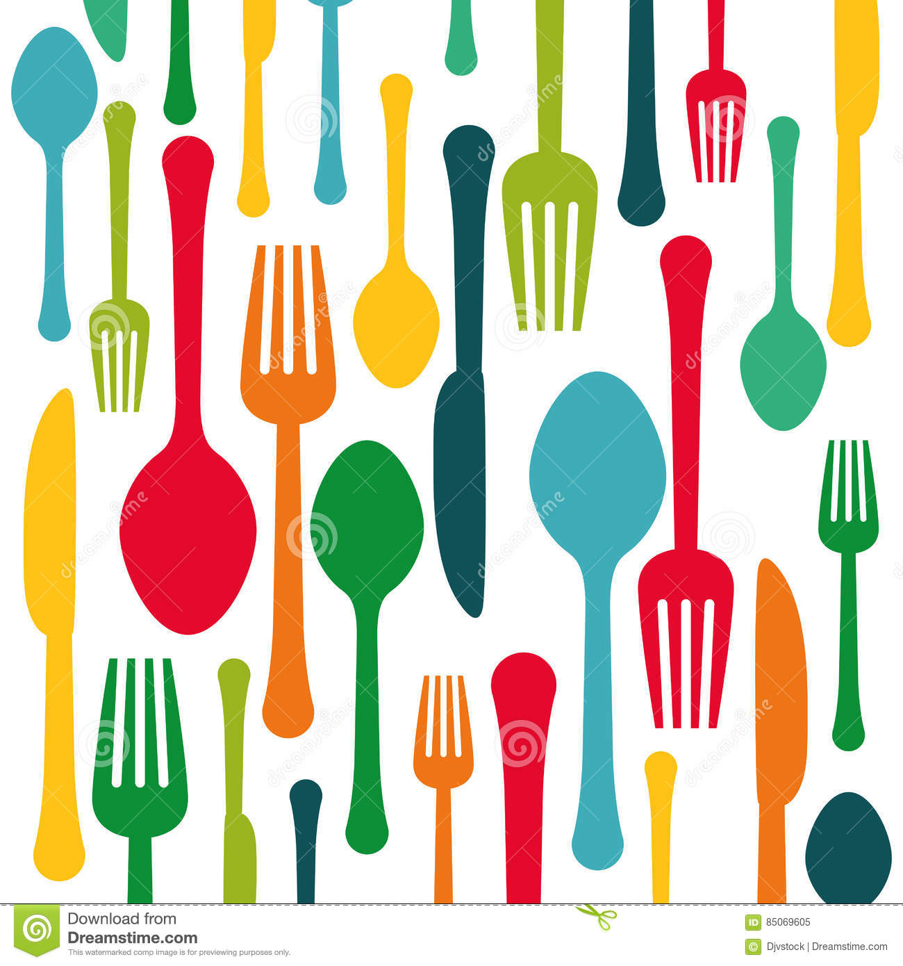 Colorful kitchen utensils background icon stock for Colorful kitchen tools