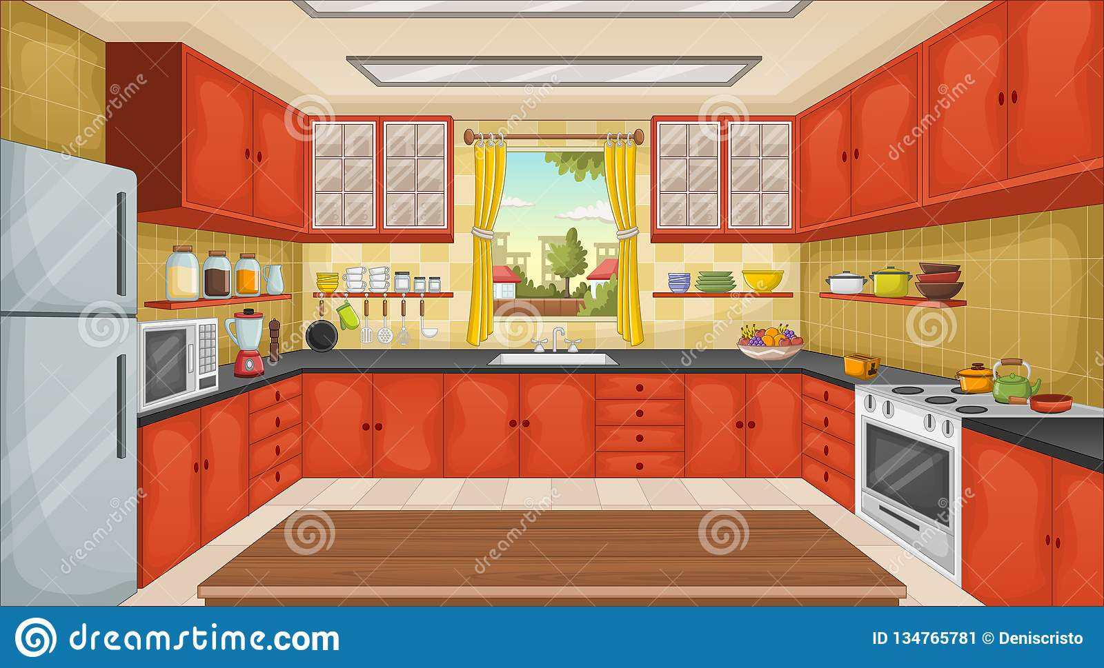 Colorful Kitchen With Utensils. House In The Suburb. Stock ...