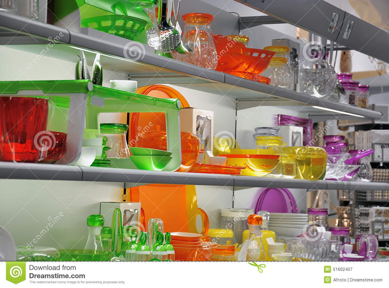 Http Www Dreamstime Com Stock Photo Colorful Kitchenware Store Glasses Pots Plates Other Kitchen Accessories Window Image51602407
