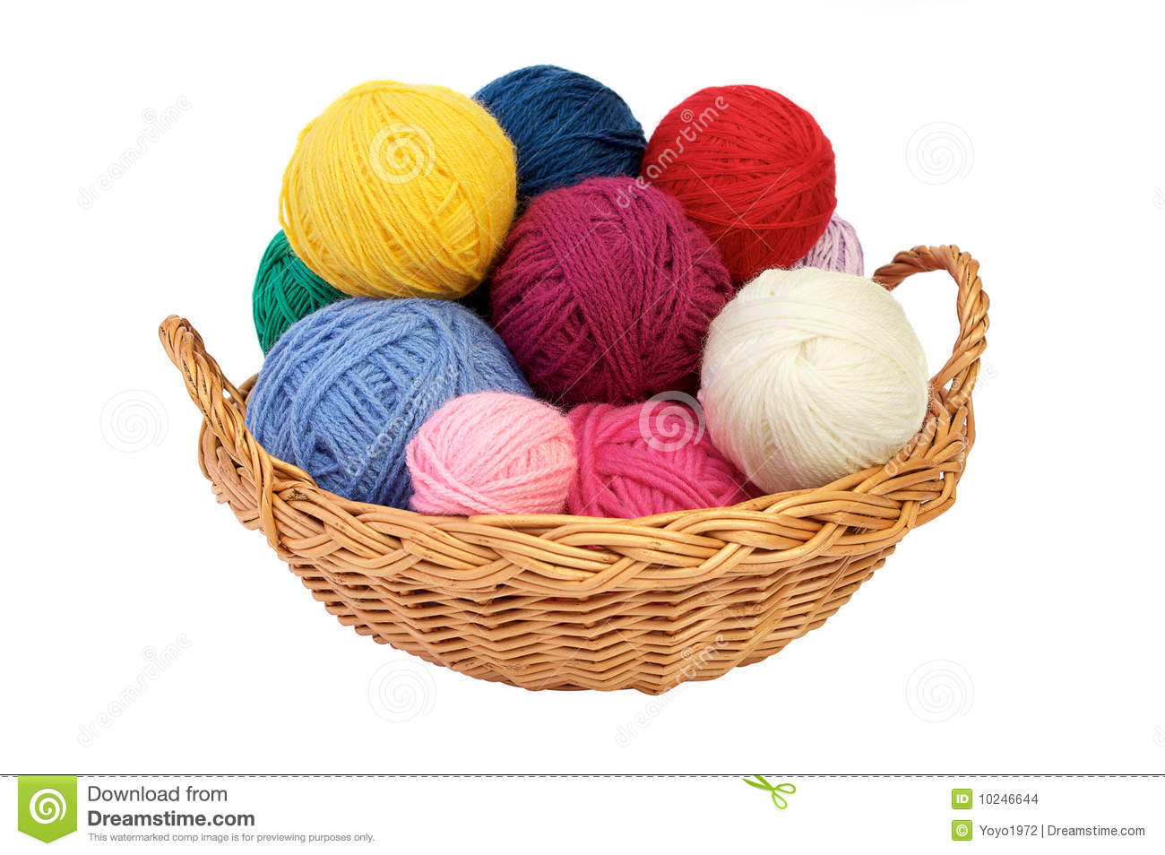 Knitting Basket Yarn : Colorful knitting yarn in a basket stock photo image