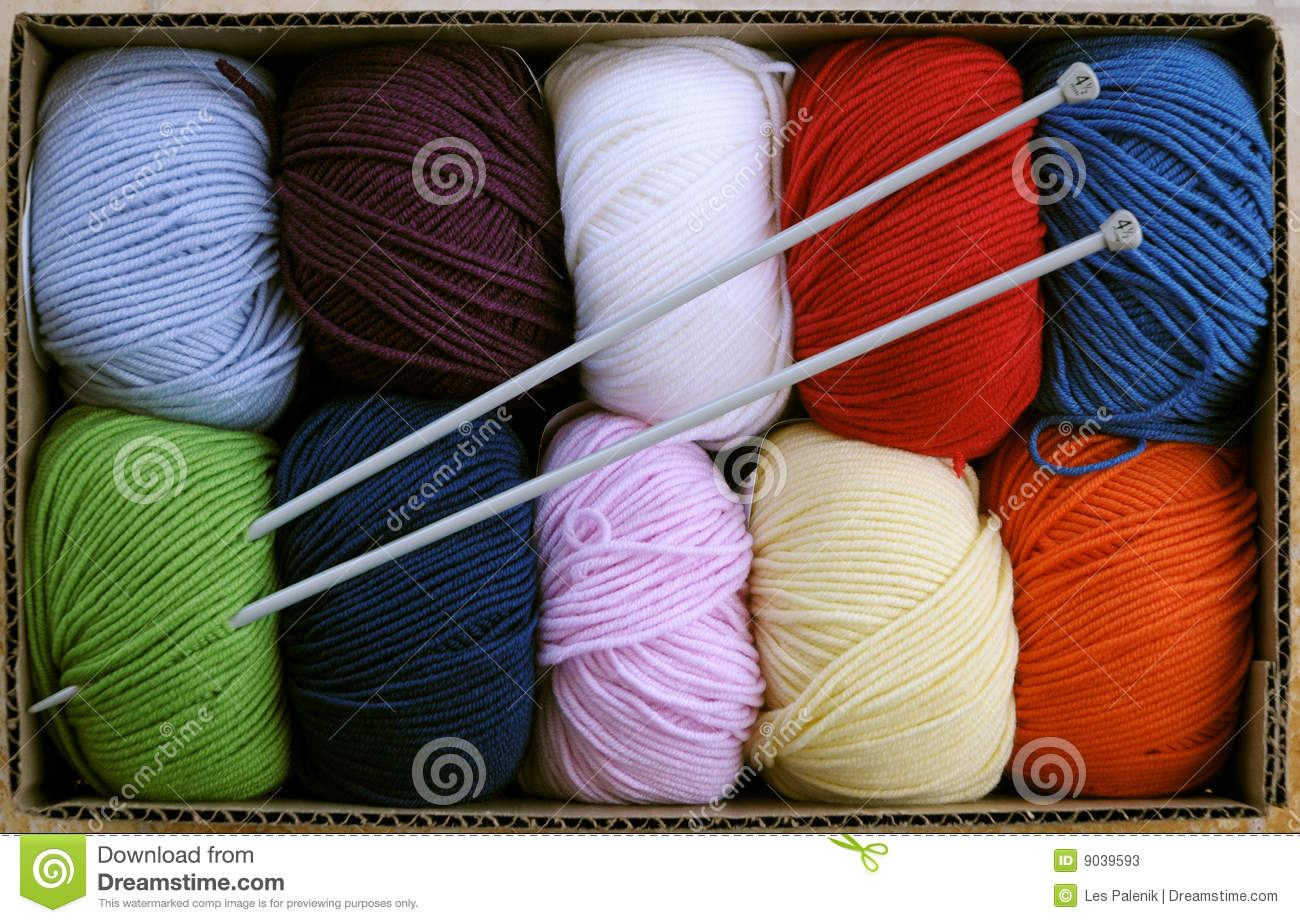 Knitting Wool And Needles : Colorful knitting yarn with needles stock image
