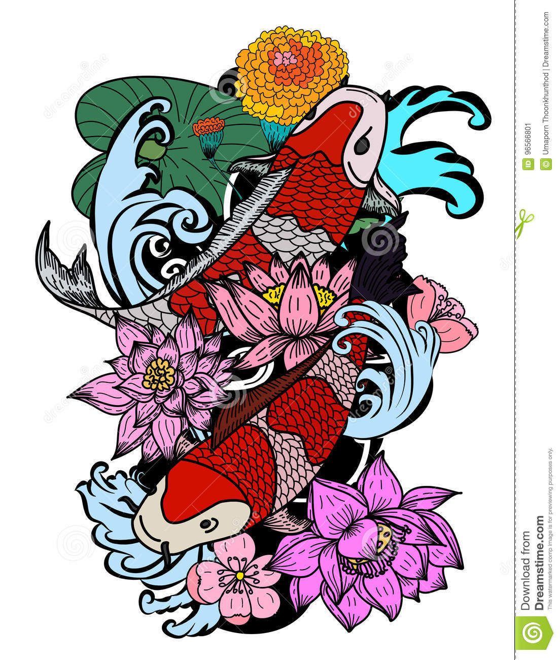dc0389ed3 koi fish tattoo meaning español Colorful Koi Fish And Flower Stock Vector  - Illustration of drawing .