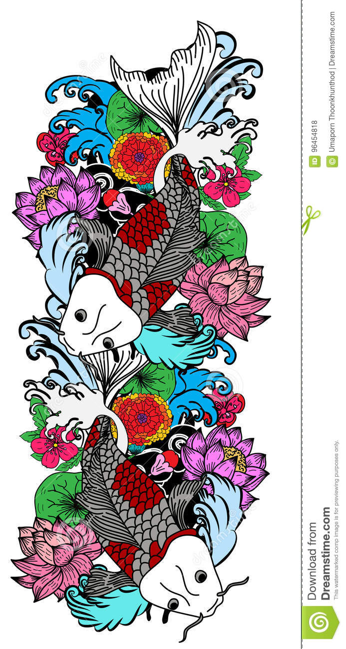 Colorful Koi Fish And Flower Stock Vector Illustration Of Chinese