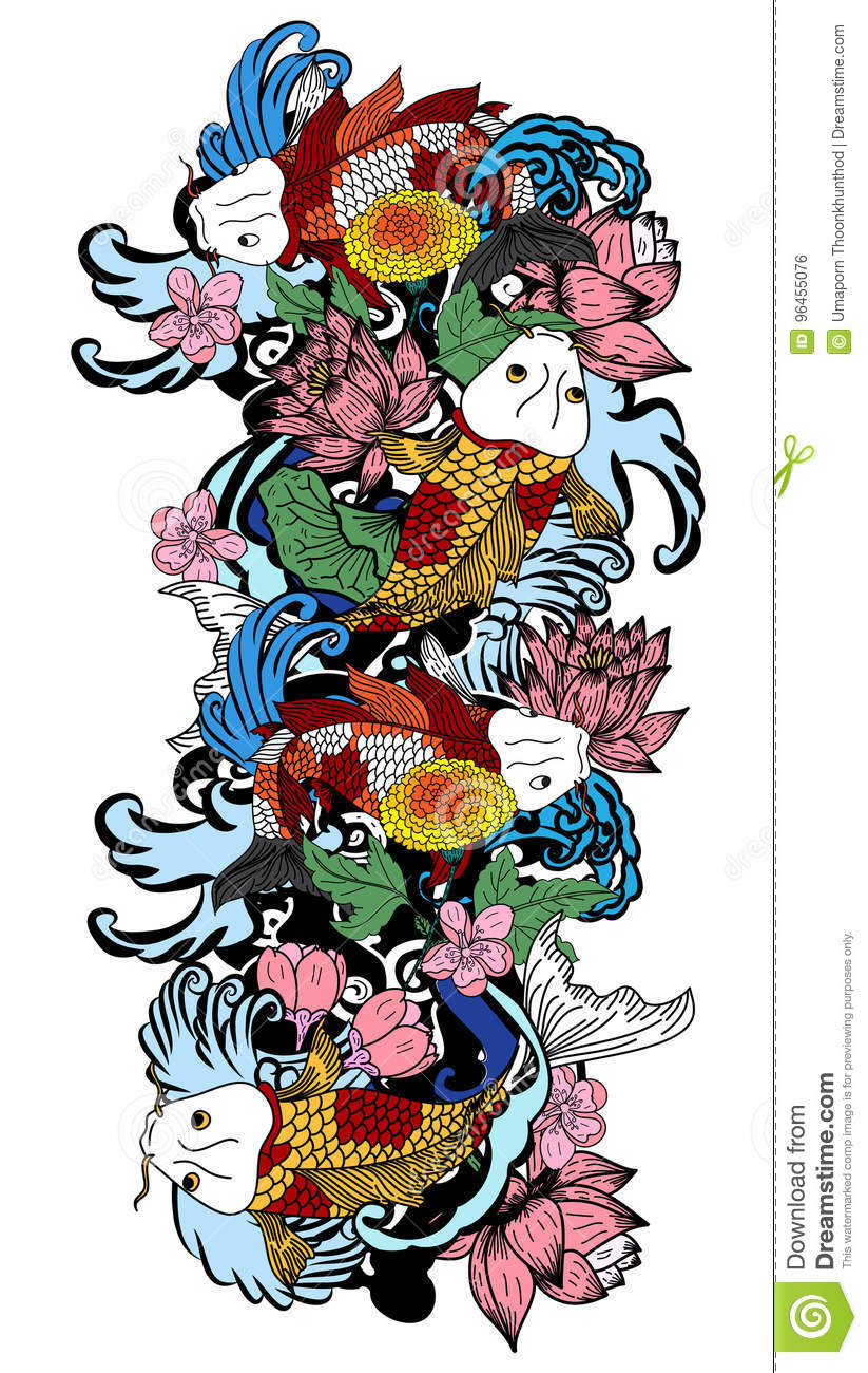 Colorful Koi Fish And Flower Stock Vector Illustration Of Hand