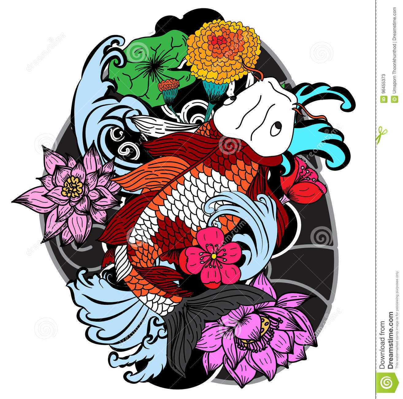 Colorful Koi Fish And Flower Stock Vector - Illustration of japanese ...