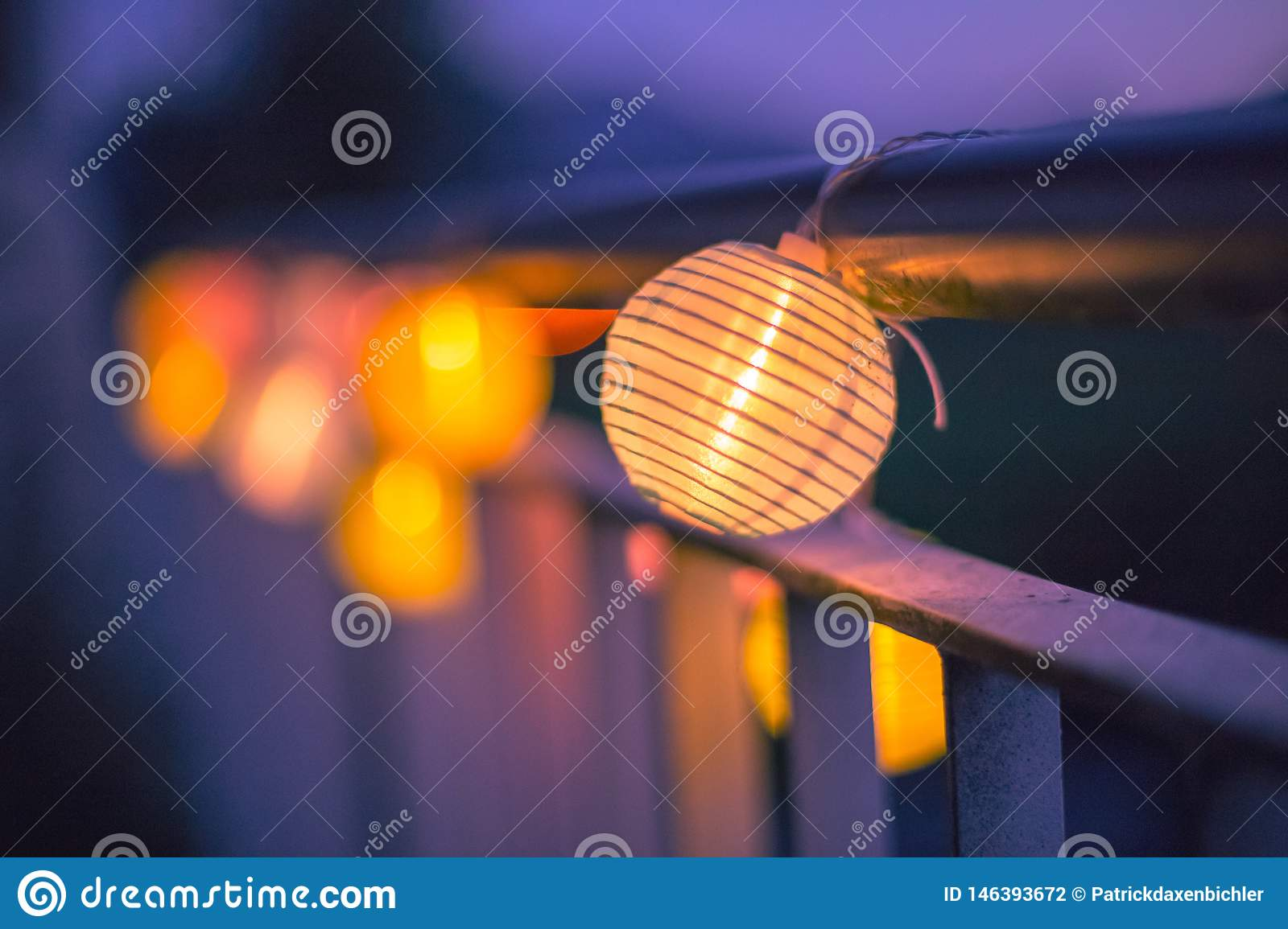Lampions In The Night Garden Party In Summer Stock Photo Image Of