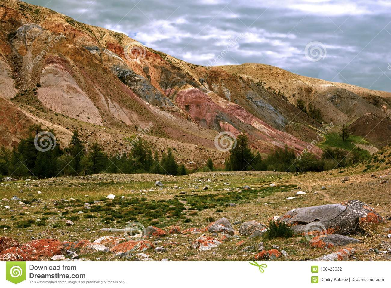 Colorful landscape of mountains in the Altai