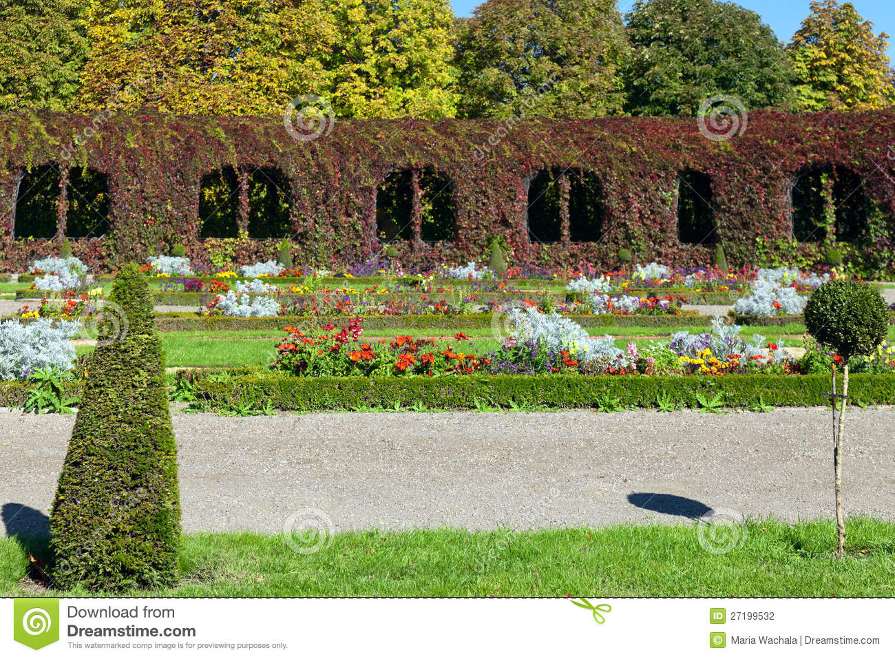 Colorful landscaped formal garden stock photography for Formally designed lawn