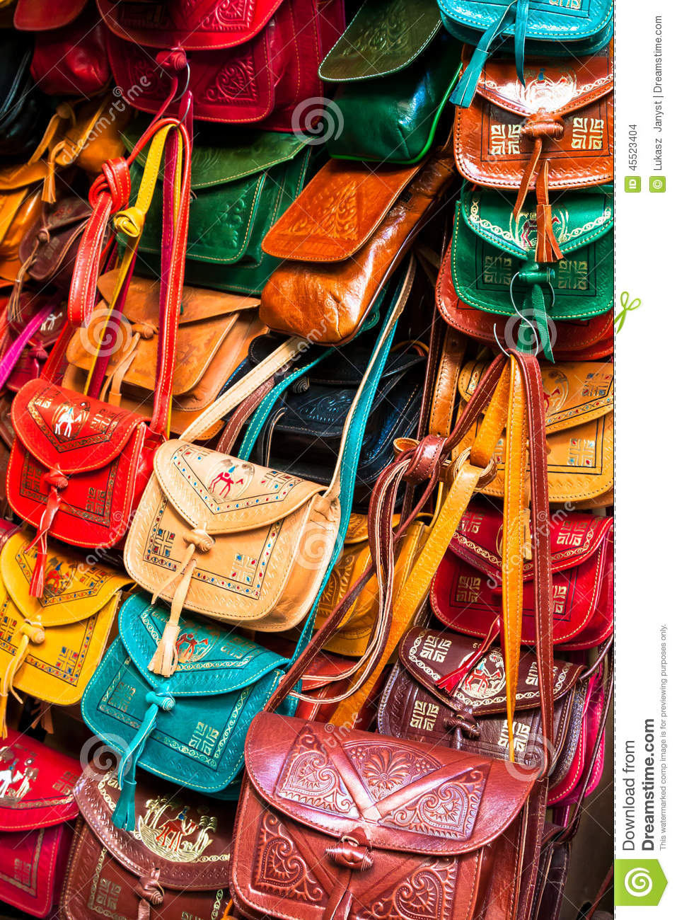 aa04c8ae4841 Colorful Leather Handbags Collection On Tunis Market Stock Photo ...