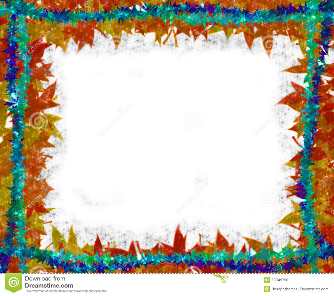 White Backgrounds With Colorful Borders Colorful Leaves...