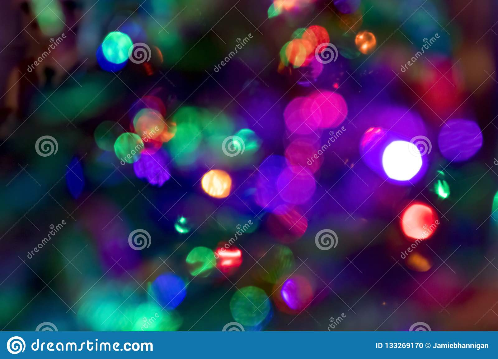 Colorful Christmas Lights Background.Colorful Christmas Lights Bokeh Background Stock Photo