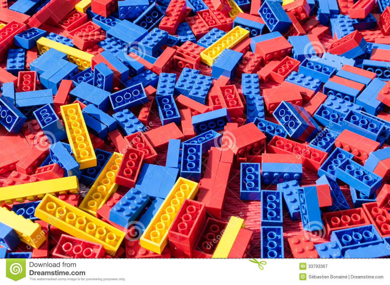 Colorful Lego Bricks Background Blue Red Yellow Toy