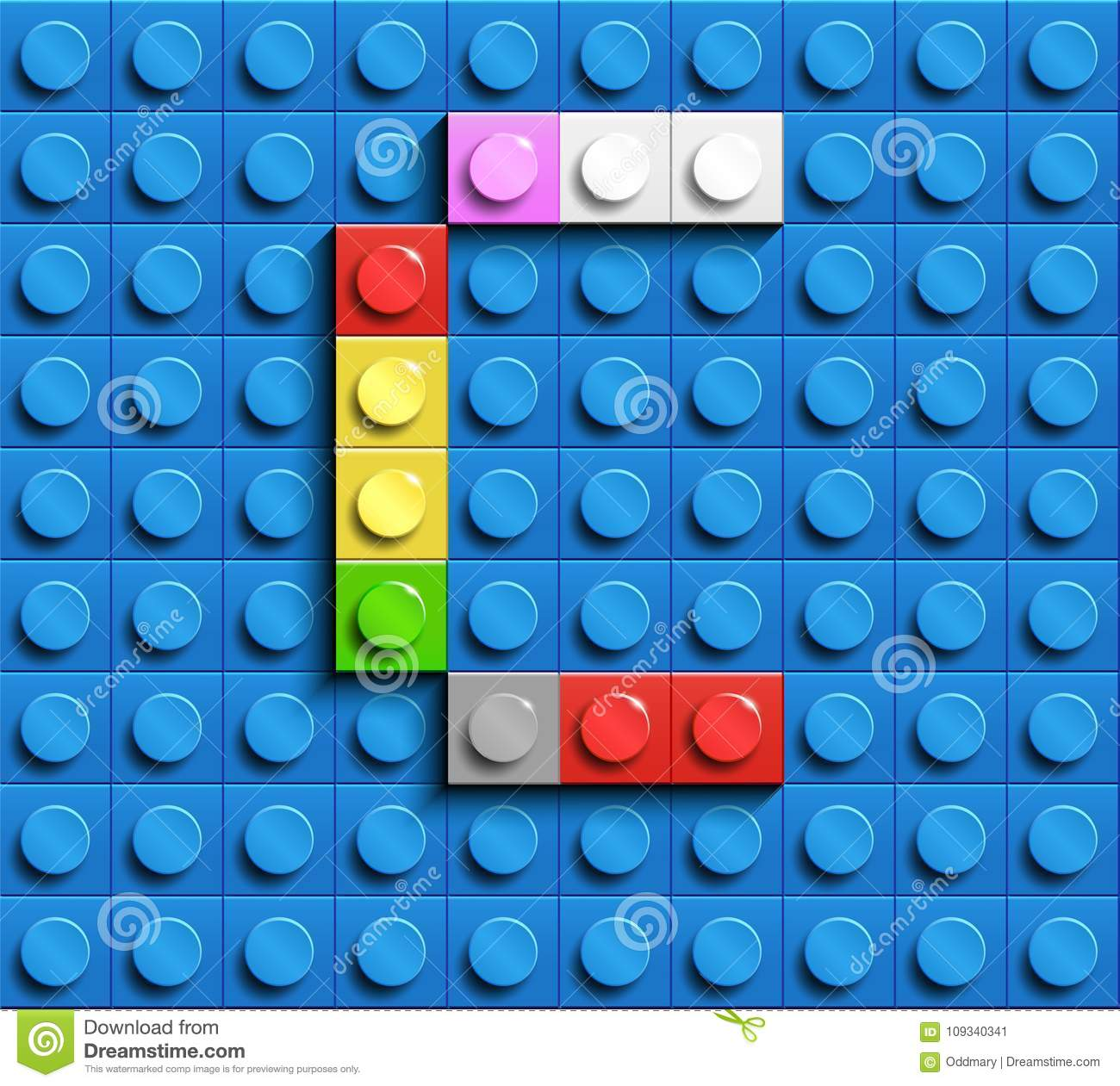 Colorful Letter C From Building Lego Bricks On Blue Lego Background