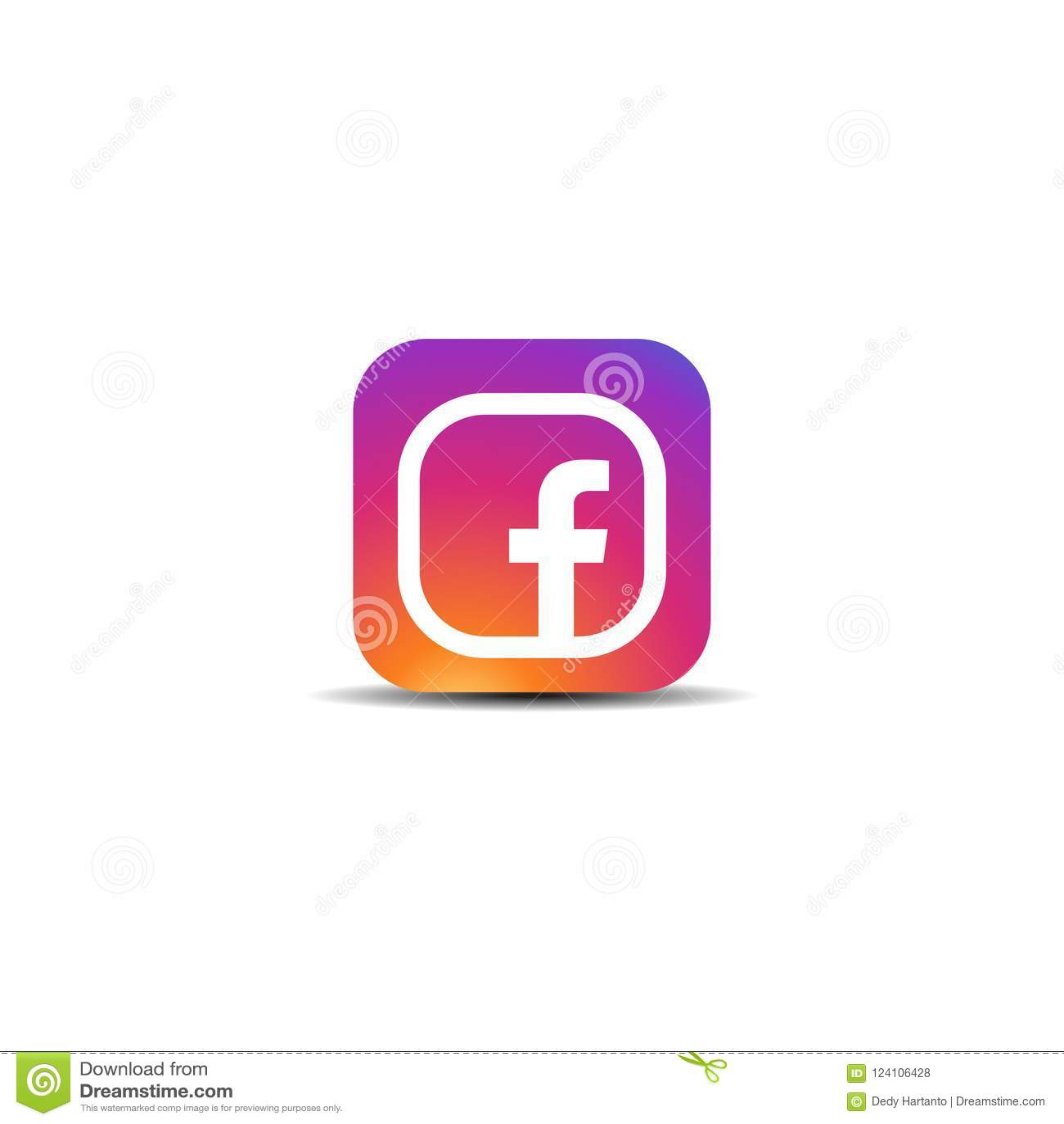 Colorful facebook icon logo editorial stock photo illustration of colorful facebook icon logo vector template ready for use maxwellsz