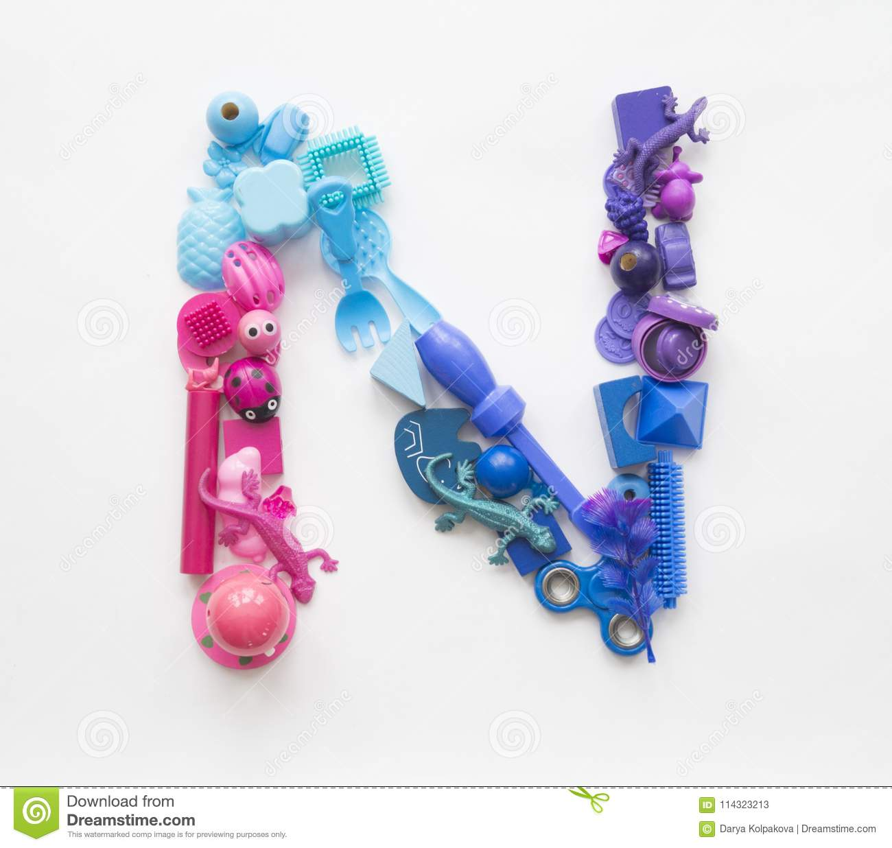 Colorful Letter N Of The Toys On A White Background Stock Image