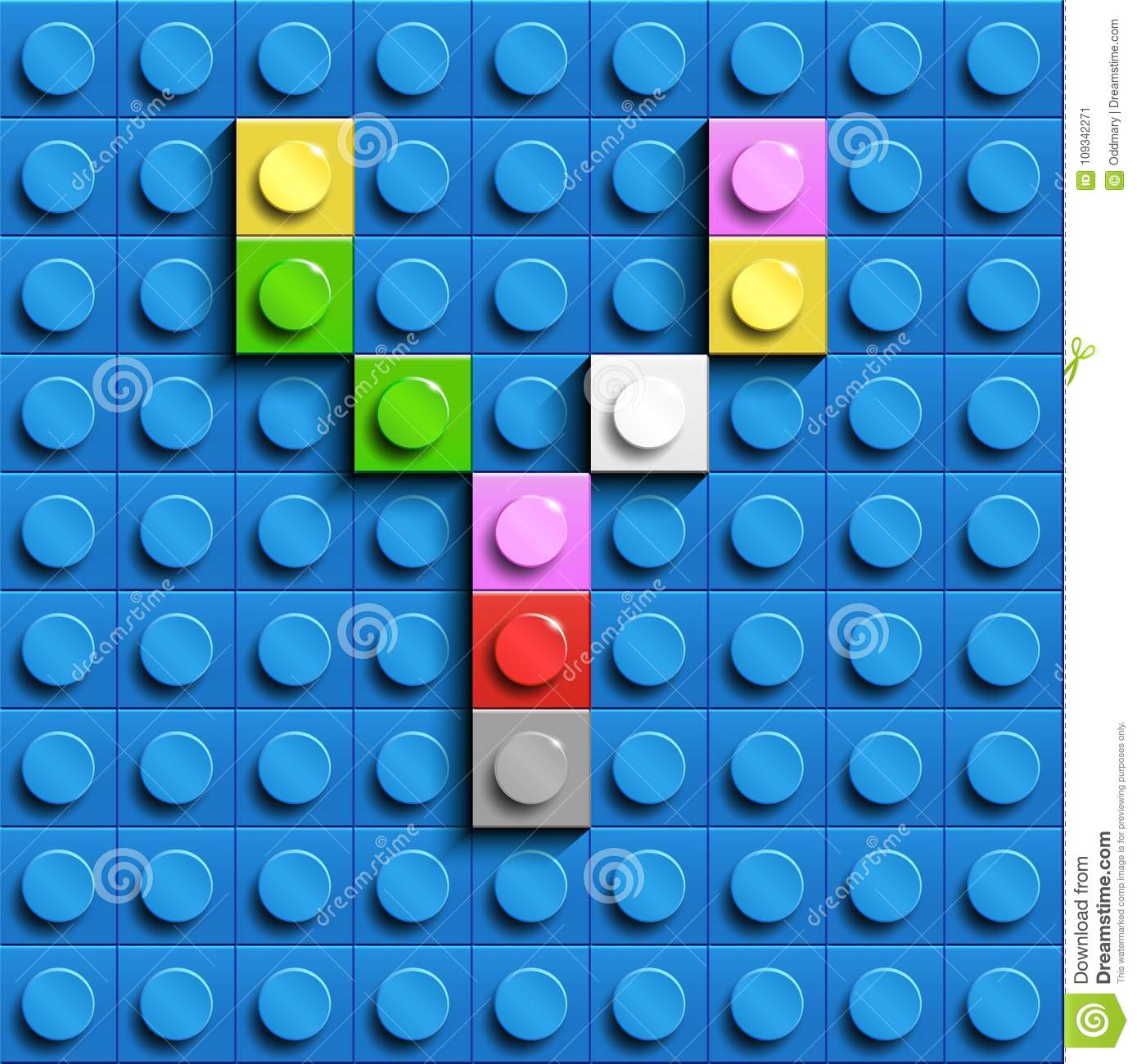 Colorful letter Y from building lego bricks on blue lego background. Lego letter M